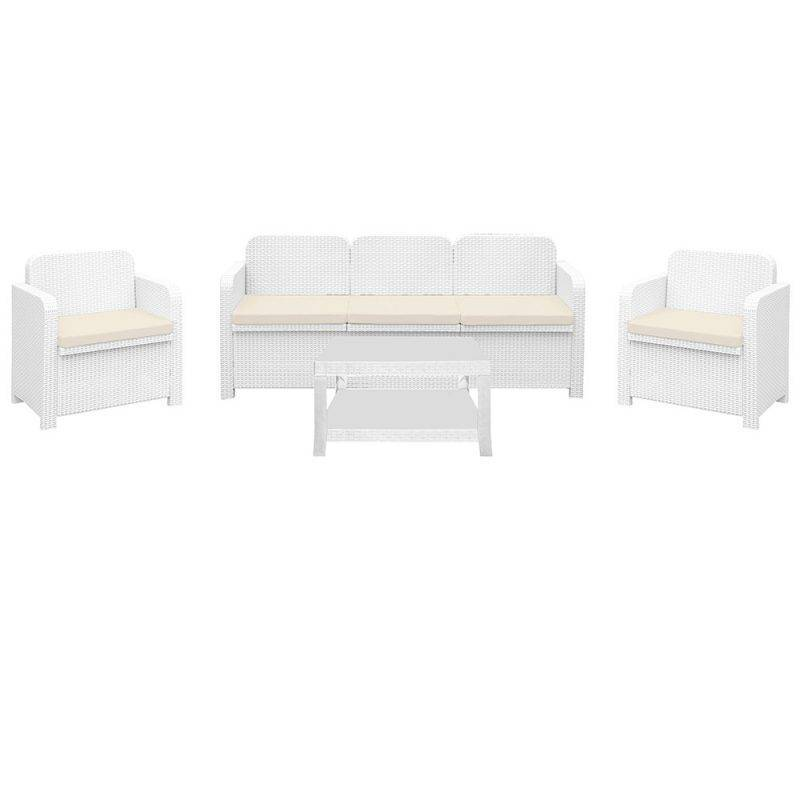 conjunto brasil 2 sillones sofa mesa poli ratan blanco cojines