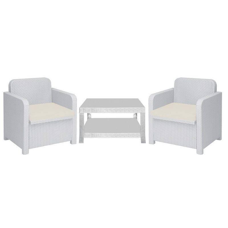 conjunto corcega 2 sillones mesa poli ratan blanco cojines