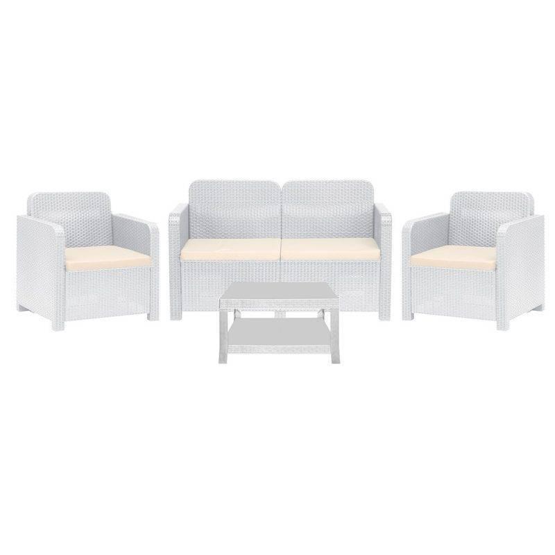 conjunto garrucha 2 sillones sofa mesa poli ratan blanco cojines