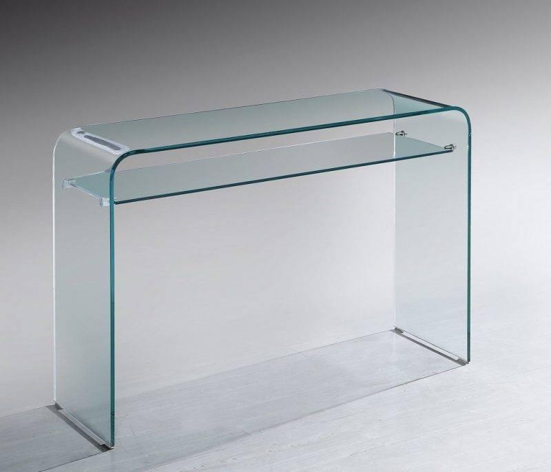 consola meryl cristal curvado 110x35 cms