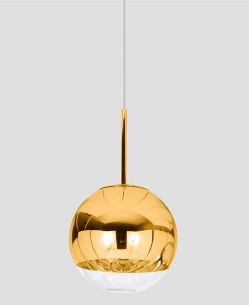 lampara karim colgante cristal dorado transparente 25 cms de diametro