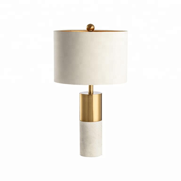 lampara nashira sobremesa marmol blanco pantalla blanca