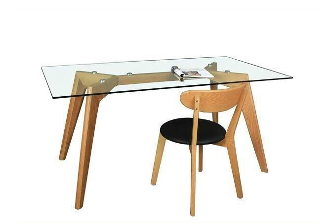 mesa africa madera cristal transparente 160 x 90 cms