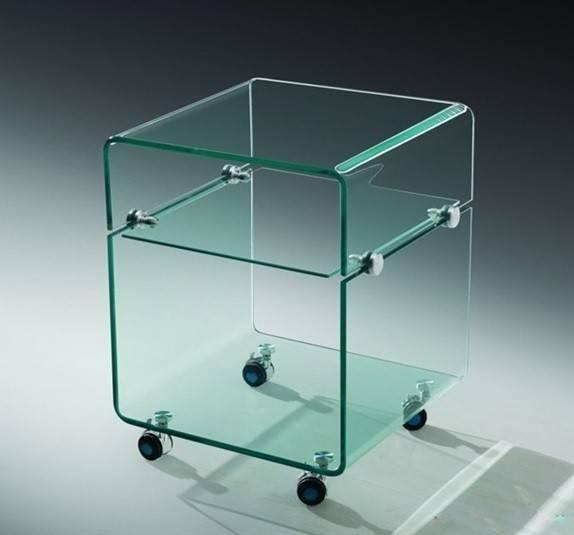 mesa armstrong baja ruedas cristal 40x40 cms