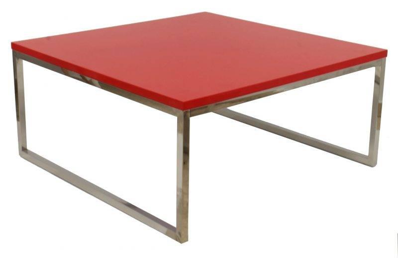 mesa jennifer baja lacada rojo 92x92 cms