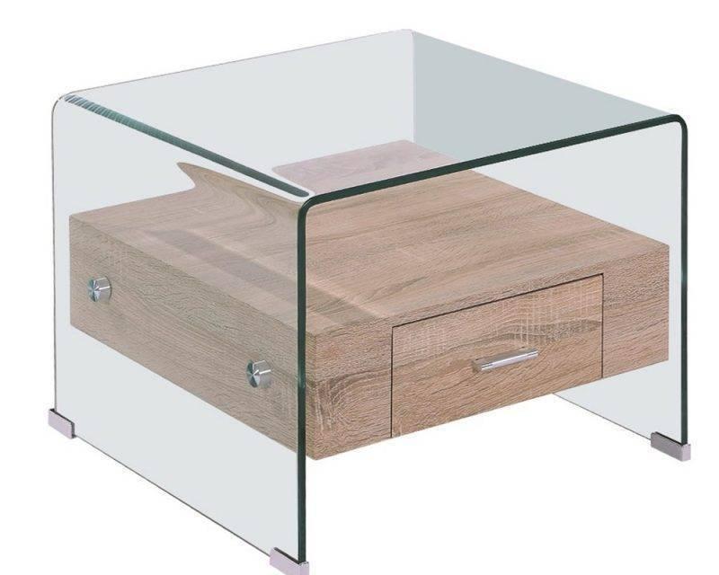 mesa marilyn baja madera cristal 50x50 cms