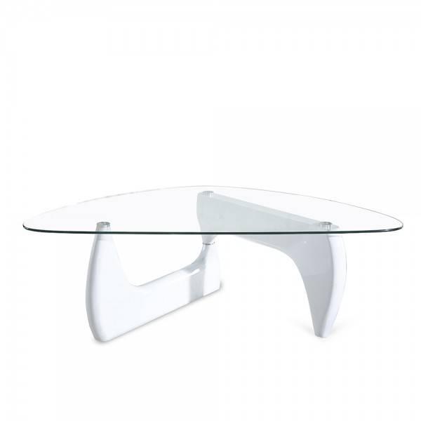 mesa nogu baja lacada blanca cristal 120x70 cms