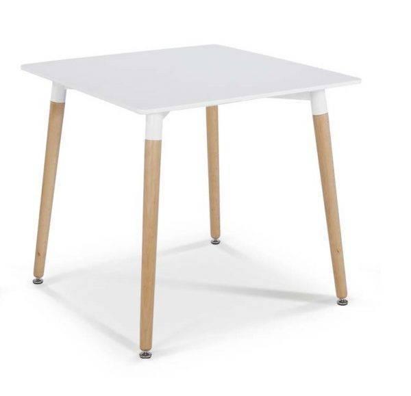 mesa nury h madera tapa lacada blanca de 80 x 80 cms