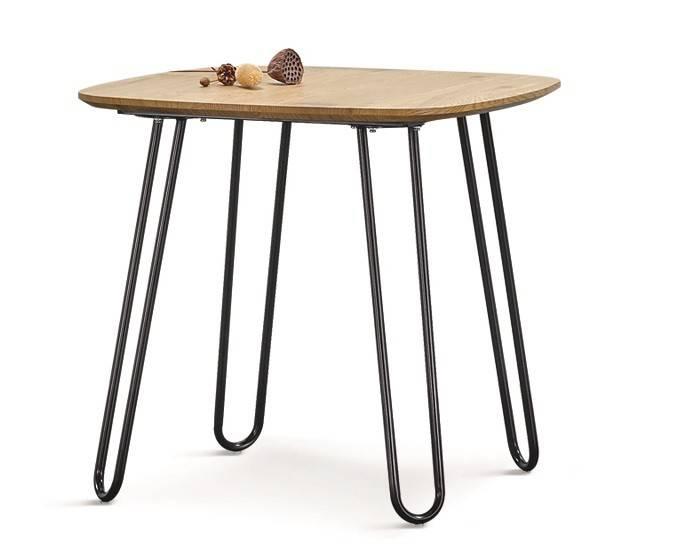 mesa romina metal tapa de dm acabado natural 120x80 cms
