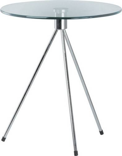mesa triplicate baja cromada cristal 50 cms diametro