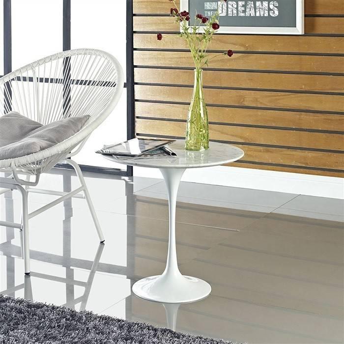 mesa tul baja aluminio marmol blanco de 50 cms