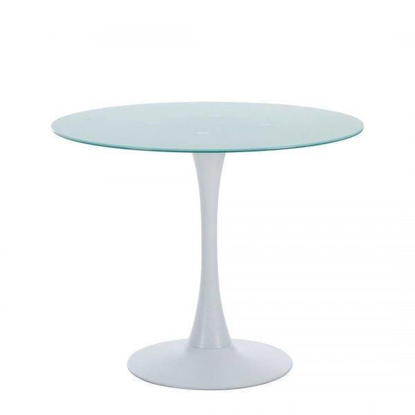 mesa tul base de metal tapa de cristal blanco 90 cms de diametro