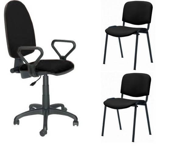 pack pre50 silla operativa con brazos 2 sillas fijas tejido a1 negro