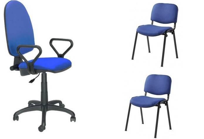 pack pre50 silla operativa con brazos 2 sillas fijas tejido a20 azul