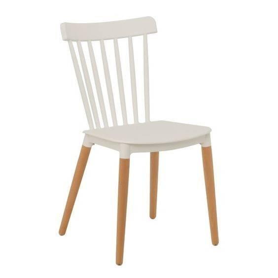 silla danesa madera polipropileno blanco