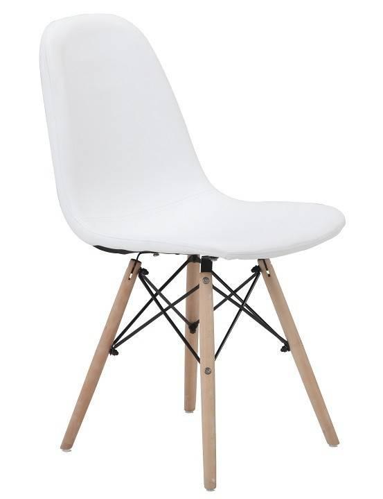 silla delia madera similpiel blanca 1
