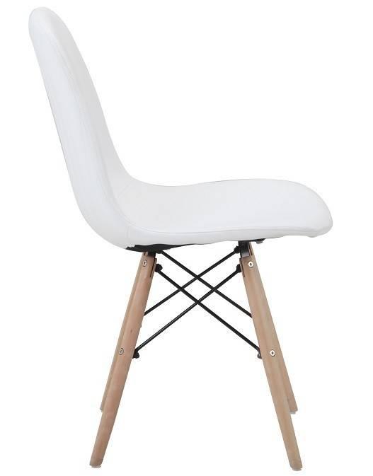 silla delia madera similpiel blanca 3