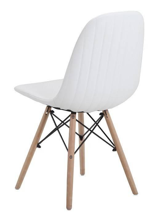 silla delia madera similpiel blanca