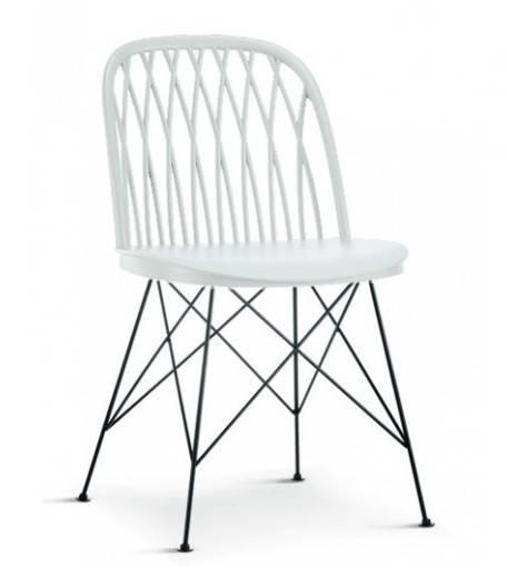 silla emilia metal polipropileno blanco