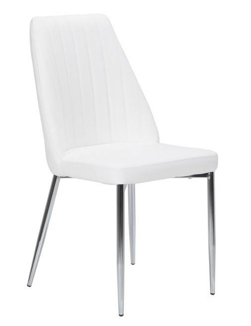 silla maxim cromada tapizada blanca