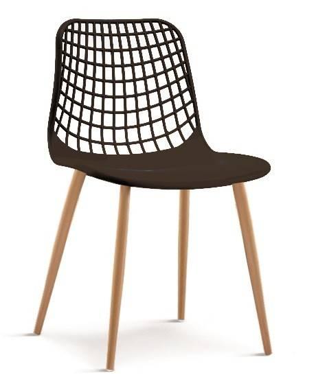 silla monica metal polipropileno negro