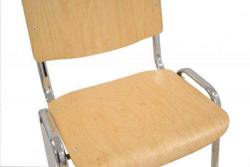 silla niza new chasis cromado asiento y respaldo en madera natural 2 scaled