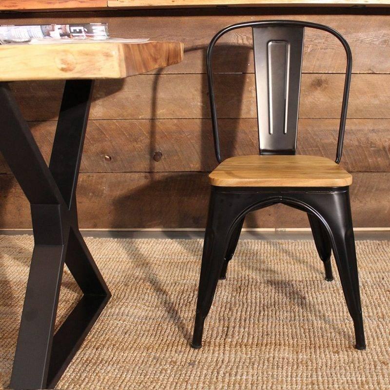 silla tol acero madera negra 1