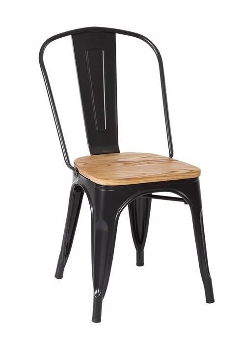 silla tol acero madera negra