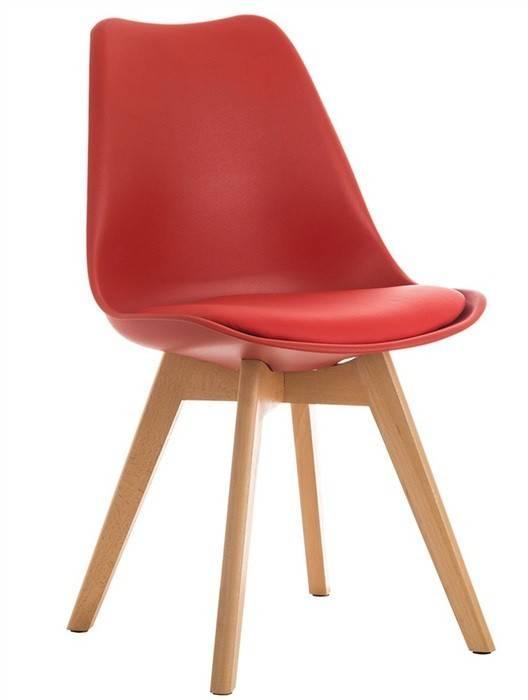 silla torre 4p h madera polipropileno y cojin rojo