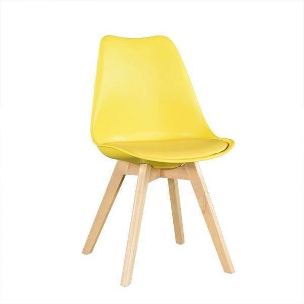 silla torre ht madera polipropileno y cojin amarillo