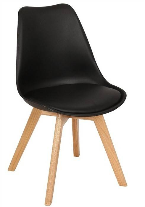 silla torre ht madera polipropileno y cojin negro