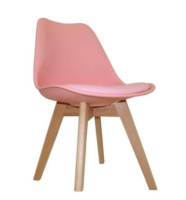 silla torre ht madera polipropileno y cojin rosa