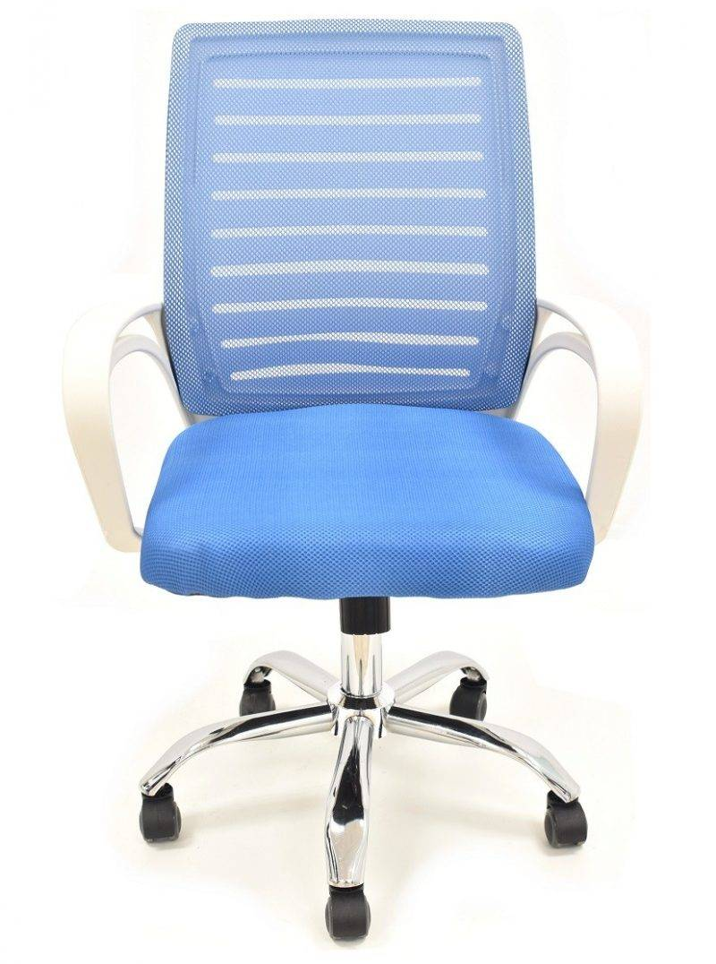 sillon de oficina sunset blanco gas basculante malla y tejido azul 2