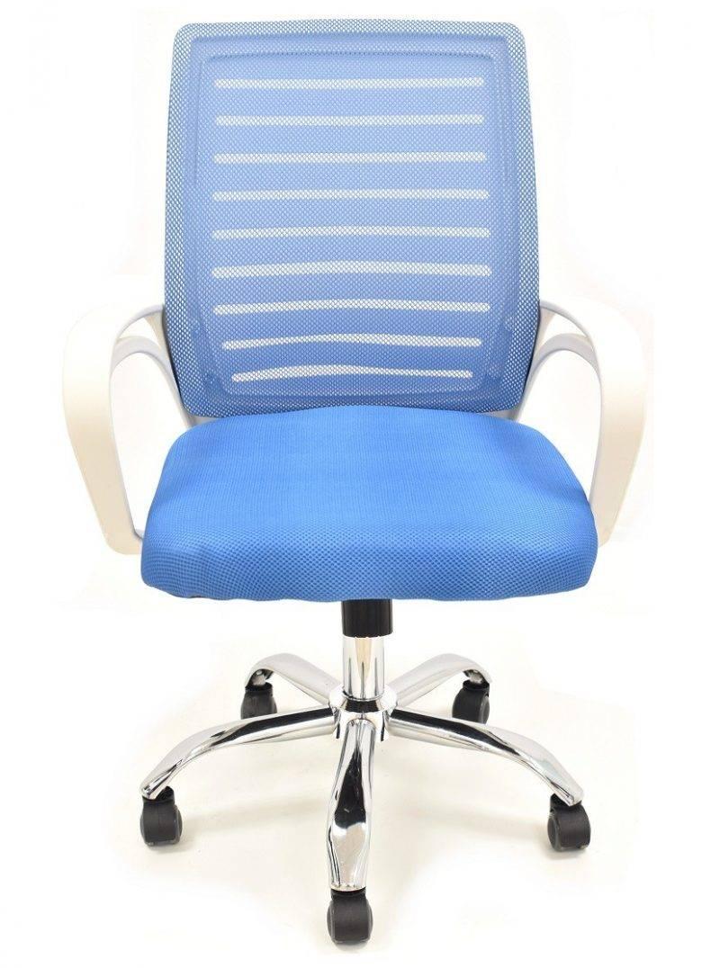 sillon de oficina sunset blanco gas basculante malla y tejido azul 4