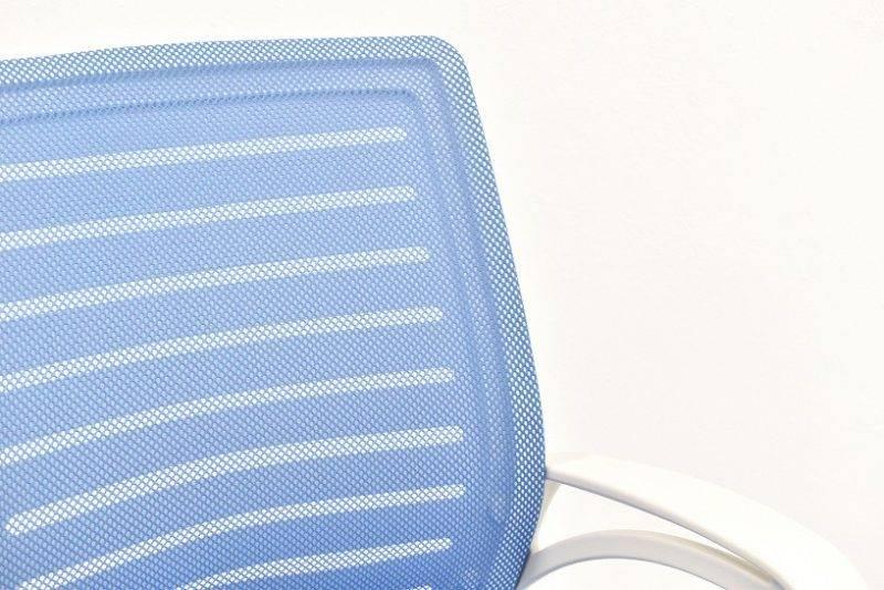 sillon de oficina sunset blanco gas basculante malla y tejido azul 5