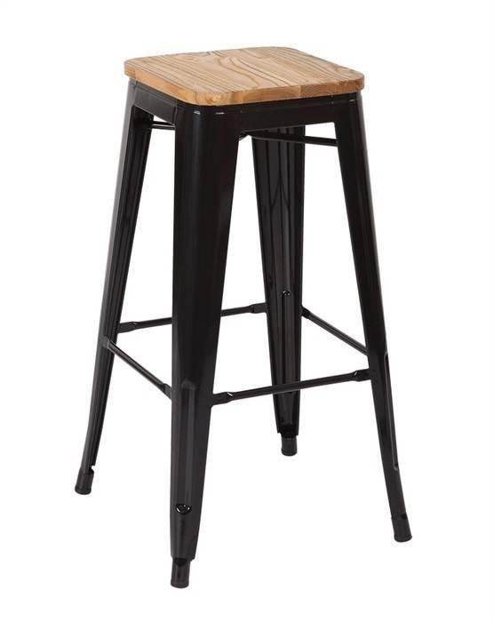 taburete tol acero madera negro