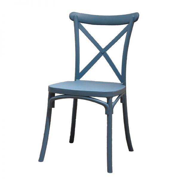 Silla crossback resina azul mobiliario factory