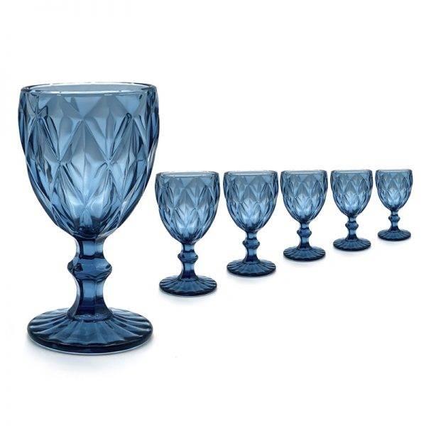 vajilla cristal azul agua