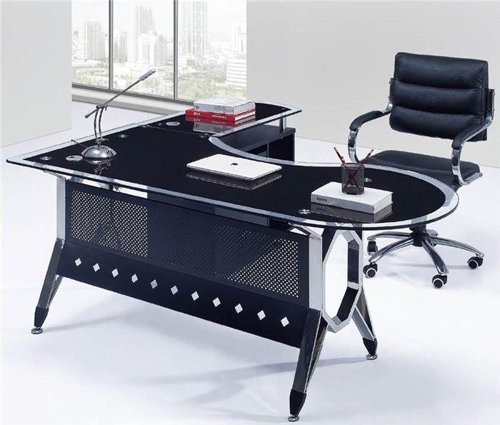 mesa de oficina cologne mueble a derecha cristal 180x85 cms