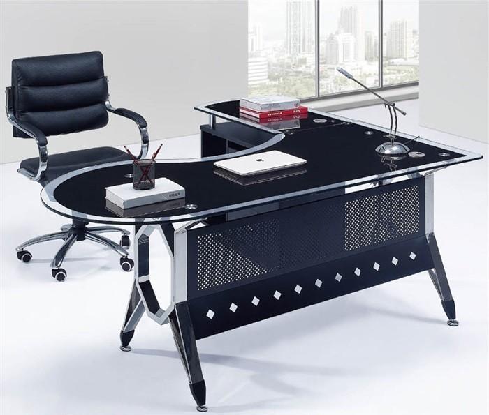 mesa de oficina cologne mueble a izquierda cristal 180x85 cms