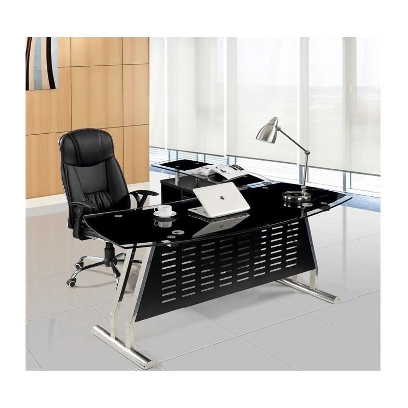 mesa de oficina evian oval mueble a izquierda cristal 180x85 cms