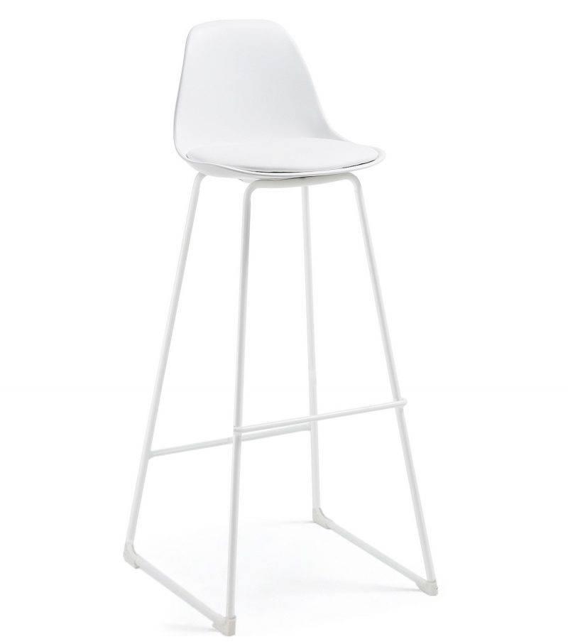 taburete tower epoxi blanco carcasa y tapizado blanco